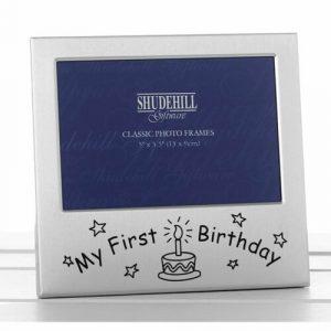 Satin Silver Occasion Frame My First Birthday 5×3